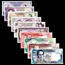 Billetes extranjeros: COLECCION SET 10 BILLETES COLOMBIA 1-2-5-10-20-50-100-200-500-1000 PESOS UNC AUTENTICOS. Lote 211256607