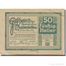 Billetes extranjeros: BILLETE, AUSTRIA, HAIDERSHOFEN, 50 HELLER, LAC, 1920, EBC MEHL:FS 335IA. Lote 211256831