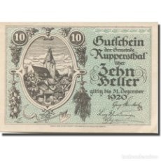 Billetes extranjeros: BILLETE, AUSTRIA, RUPPERSTHAL, 10 HELLER, EGLISE 1920-12-31, SC MEHL:FS 854A. Lote 211256994