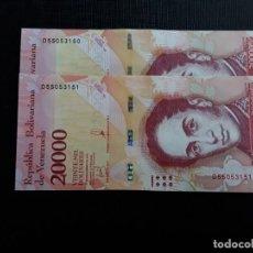 Billetes extranjeros: VENEZUELA 2 BILLETES DE 20000 BOLÍVARES 2017 NUMERACIÓN CONSECUTIVA - EBC-. Lote 211422876