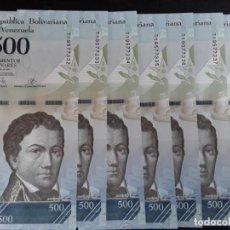Billetes extranjeros: VENEZUELA 7 BILLETES DE 500 BOLÍVARES MARZO 2017 NUMERACIÓN CONSECUTIVA EBC-. Lote 211424104