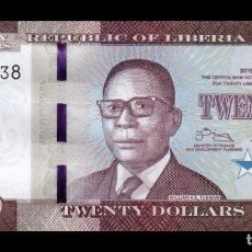 Billetes extranjeros: LIBERIA 20 DOLLARS 2016 PICK 33A SC UNC. Lote 211452159