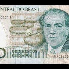 Billetes extranjeros: BRASIL BRAZIL 500 CRUZADOS 1988 PICK 212D SC UNC. Lote 221951886