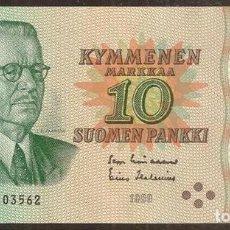 Billetes extranjeros: FINLANDIA. 10 MARKKAA 1980. SIN LITT. PICK 111. VARIANTE DE FIRMAS.. Lote 211591381