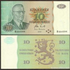 Billetes extranjeros: FINLANDIA. 10 MARKKAA 1980. SIN LITT. PICK 111. VARIANTE DE FIRMAS.. Lote 255416565