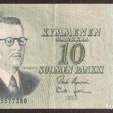 Billetes extranjeros: FINLANDIA. 10 MARKKAA 1963. LITT. A. PICK 104. VARIANTE DE FIRMAS.. Lote 211591689