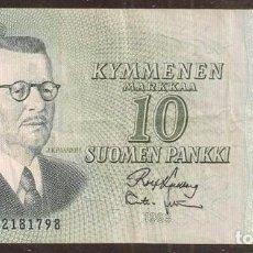 Billetes extranjeros: FINLANDIA. 10 MARKKAA 1963. LITT. A. PICK 104. VARIANTE DE FIRMAS.. Lote 211591724