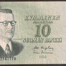 Billetes extranjeros: FINLANDIA. 10 MARKKAA 1963. LITT. A. PICK 104. VARIANTE DE FIRMAS.. Lote 211591796