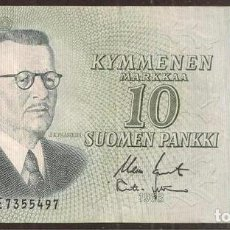 Billetes extranjeros: FINLANDIA. 10 MARKKAA 1963. LITT. A. PICK 104. VARIANTE DE FIRMAS.. Lote 211591827