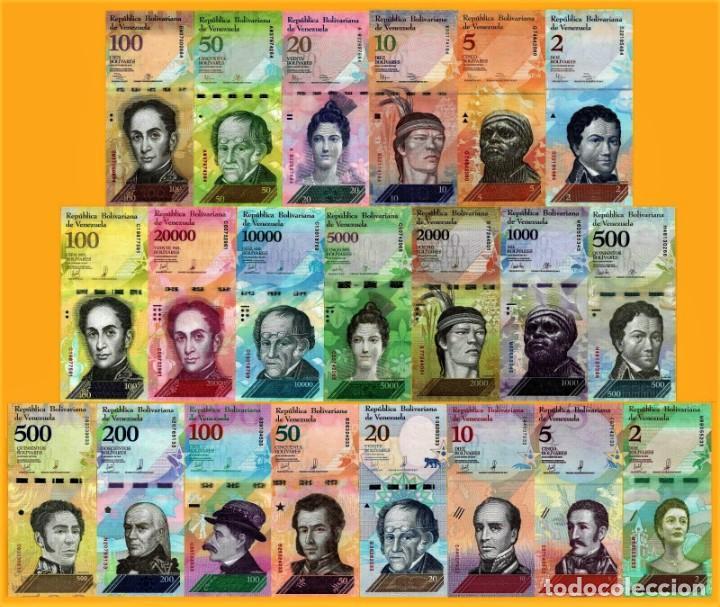 VENEZUELA FULL SET 21 PCS BOLIVARES Y SOBERANO 2007 - 2018 UNC (Numismática - Notafilia - Billetes Extranjeros)