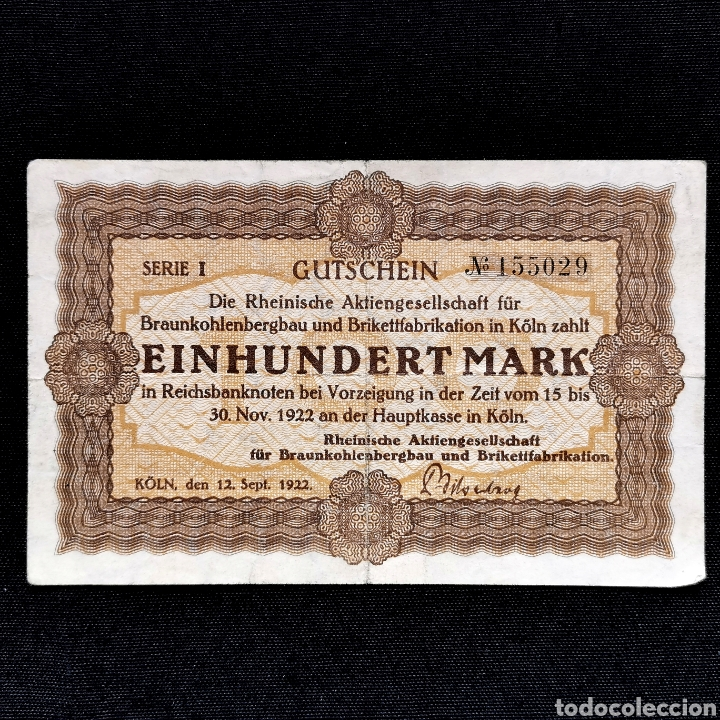 NOTGELD. GUTSCHEIN. 100 MARK 1922 (Numismática - Notafilia - Billetes Extranjeros)