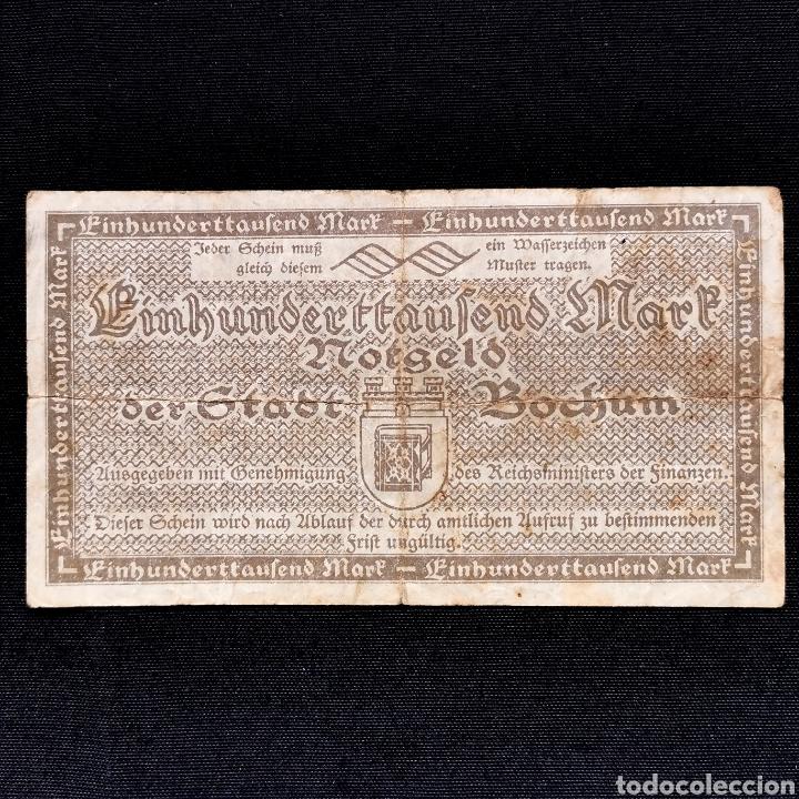 Billetes extranjeros: Notgeld. Bochum. 100000 mark 1923 - Foto 2 - 211832623