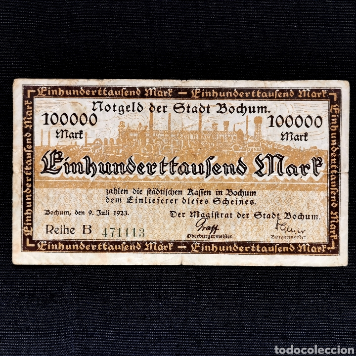 NOTGELD. BOCHUM. 100000 MARK 1923 (Numismática - Notafilia - Billetes Extranjeros)