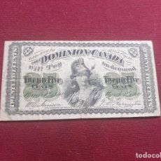 Billetes extranjeros: CANADA. 25 CENTS 1870. BUEN ESTADO. Lote 211922652