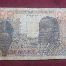 Billetes extranjeros: 100 FRANCS, 1965, ESTADOS DEL ÁFRICA OCCIDENTAL, 1965-03-02. Lote 212021847
