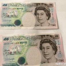 Billetes extranjeros: GRAN BRETAÑA - 2- BILLETE 5 POUNDS 1990 (PAREJA. Lote 212161580
