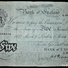 Billetes extranjeros: INGLATERRA (REINO UNIDO) 5 POUNDS LIBRAS 1947. PICK 343. PAPEL FINO. FIRMA: K. O. PEPPIATT. Lote 213078628