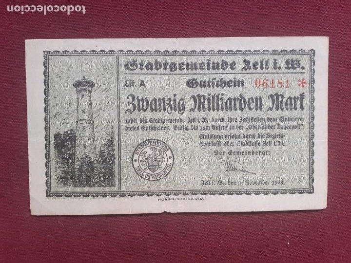 ALEMANIA. ZELL - 20 MILLIARDEN MARK 1923 (Numismática - Notafilia - Billetes Extranjeros)
