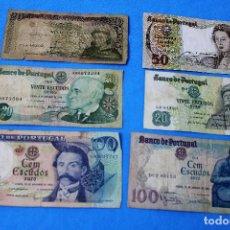 Billetes extranjeros: PORTUGAL LOTE 6 BILLETES CIRCULADOS - LOTE 101. Lote 213607847