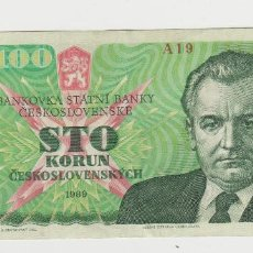 Billetes extranjeros: CHECOSLOVAQUIA- 100 CORONAS- 1989. Lote 213734488