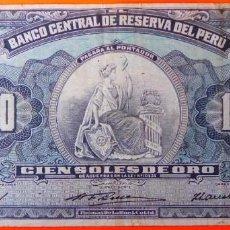 Billets internationaux: PERÚ, 100 SOLES DE ORO, 22 MARZO 1956. CIRCULADO.. Lote 213736940