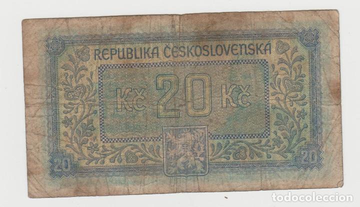 Billetes extranjeros: CHECOSLOVAQUIA- 20 CORONAS- 1945 - Foto 2 - 213741152