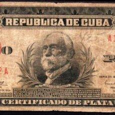 Billetes extranjeros: CUBA - 5 PESOS CERTIFICADO DE PLATA - 1934 - FECHA ESCASA. Lote 214082112