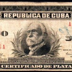 Billetes extranjeros: CUBA - 5 PESOS CERTIFICADO DE PLATA - 1934 - FECHA ESCASA. Lote 214082210