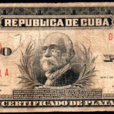 Billetes extranjeros: CUBA - 5 PESOS CERTIFICADO DE PLATA - 1936 A - FECHA ESCASA. Lote 214082347