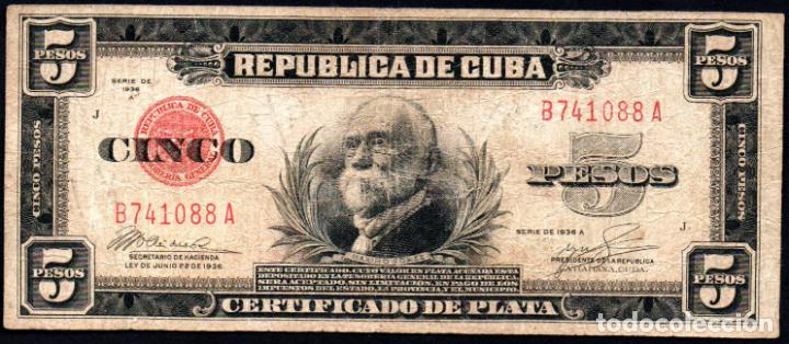 CUBA - 5 PESOS CERTIFICADO DE PLATA - 1936 A - FECHA ESCASA (Numismática - Notafilia - Billetes Extranjeros)