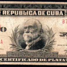 Billetes extranjeros: CUBA - 5 PESOS CERTIFICADO DE PLATA - 1936 A - FECHA ESCASA. Lote 214082538