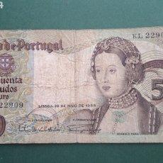 Billets internationaux: BANCO DE PORTUGAL , 50 , CINCUENTA ESCUDOS 1968. Lote 214608510