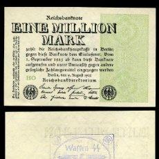 Billetes extranjeros: ALEMANIA BILLETE CLASICO 1 MILLON DE MARKOS DE 1923 CON SELLO VIOLETA ESVASTICA DE LA ALEMANIA NAZI. Lote 215042015