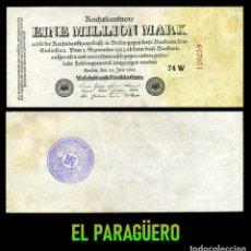 Billetes extranjeros: ALEMANIA BILLETE CLASICO 1 MILLON DE MARKOS DE 1923 CON SELLO VIOLETA ESVASTICA DE LA ALEMANIA NAZI. Lote 215042298