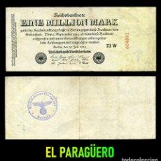 Billetes extranjeros: ALEMANIA BILLETE CLASICO 1 MILLON DE MARKOS DE 1923 CON SELLO VIOLETA ESVASTICA DE LA ALEMANIA NAZI. Lote 215042307