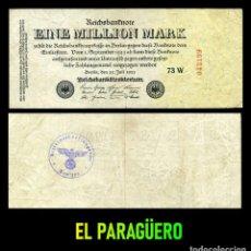 Billetes extranjeros: ALEMANIA BILLETE CLASICO 1 MILLON DE MARKOS DE 1923 CON SELLO VIOLETA ESVASTICA DE LA ALEMANIA NAZI. Lote 215042313