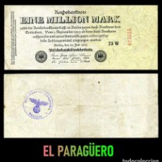 Billetes extranjeros: ALEMANIA BILLETE CLASICO 1 MILLON DE MARKOS DE 1923 CON SELLO VIOLETA ESVASTICA DE LA ALEMANIA NAZI. Lote 215042477