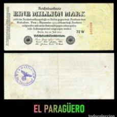 Billetes extranjeros: ALEMANIA BILLETE CLASICO 1 MILLON DE MARKOS DE 1923 CON SELLO VIOLETA ESVASTICA DE LA ALEMANIA NAZI. Lote 215042480