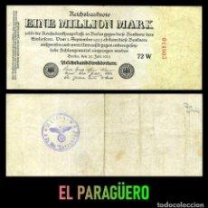 Billetes extranjeros: ALEMANIA BILLETE CLASICO 1 MILLON DE MARKOS DE 1923 CON SELLO VIOLETA ESVASTICA DE LA ALEMANIA NAZI. Lote 215042495
