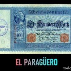Billetes extranjeros: ALEMANIA BILLETE CLASICO 100 MARKOS DE 1910 CON SELLO VIOLETA ESVASTICA DE LA ALEMANIA NAZI. Lote 215044355