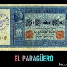 Billetes extranjeros: ALEMANIA BILLETE CLASICO 100 MARKOS DE 1910 CON SELLO VIOLETA ESVASTICA DE LA ALEMANIA NAZI. Lote 215044363