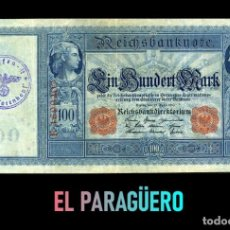 Billetes extranjeros: ALEMANIA BILLETE CLASICO 100 MARKOS DE 1910 CON SELLO VIOLETA ESVASTICA DE LA ALEMANIA NAZI. Lote 215044365