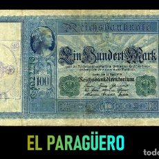 Billetes extranjeros: ALEMANIA BILLETE CLASICO 100 MARKOS DE 1910 CON SELLO VIOLETA ESVASTICA DE LA ALEMANIA NAZI. Lote 215044842
