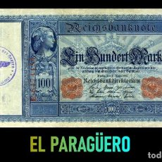 Billetes extranjeros: ALEMANIA BILLETE CLASICO 100 MARKOS DE 1910 CON SELLO VIOLETA ESVASTICA DE LA ALEMANIA NAZI. Lote 215044845