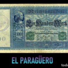Billetes extranjeros: ALEMANIA BILLETE CLASICO 100 MARKOS DE 1910 CON SELLO VIOLETA ESVASTICA DE LA ALEMANIA NAZI. Lote 215044898