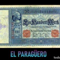 Billetes extranjeros: ALEMANIA BILLETE CLASICO 100 MARKOS DE 1910 CON SELLO VIOLETA ESVASTICA DE LA ALEMANIA NAZI. Lote 215044905