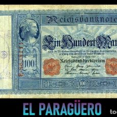 Billetes extranjeros: ALEMANIA BILLETE CLASICO 100 MARKOS DE 1910 CON SELLO VIOLETA ESVASTICA DE LA ALEMANIA NAZI. Lote 215044908