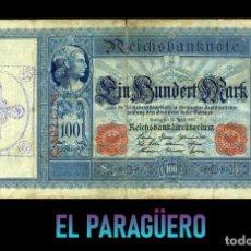 Billetes extranjeros: ALEMANIA BILLETE CLASICO 100 MARKOS DE 1910 CON SELLO VIOLETA ESVASTICA DE LA ALEMANIA NAZI. Lote 215045006