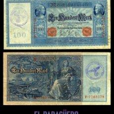 Billetes extranjeros: ALEMANIA BILLETE CLASICO 100 MARKOS DE 1910 CON SELLO VIOLETA ESVASTICA DE LA ALEMANIA NAZI. Lote 215045077