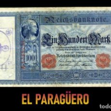 Billetes extranjeros: ALEMANIA BILLETE CLASICO 100 MARKOS DE 1908 CON SELLO VIOLETA ESVASTICA DE LA ALEMANIA NAZI. Lote 215045466